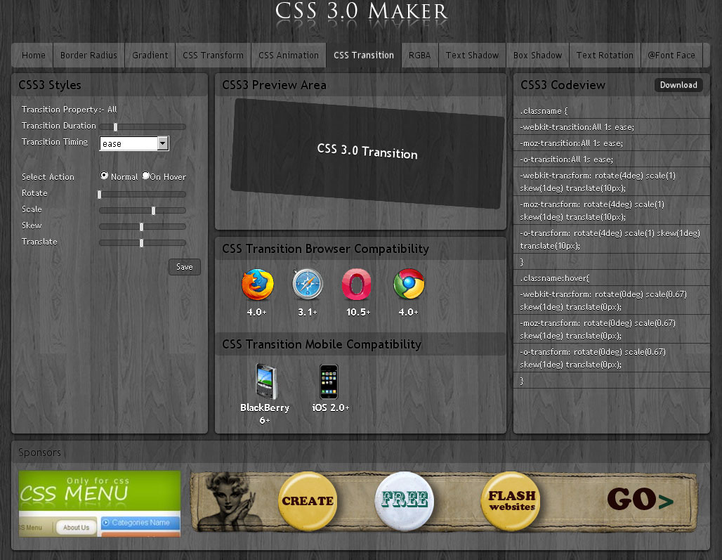 自訂兼自動寫code 的 CSS3.0 maker.