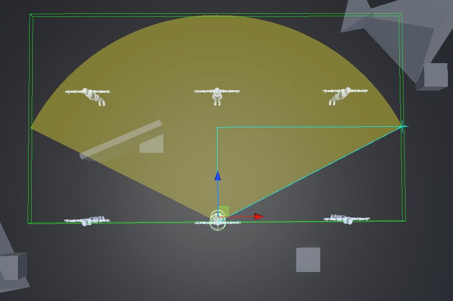實作三角視線測敵, Triangular field of view via BoxOverlap + Raycast